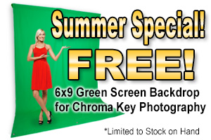 EZbackgrounds' 6-feet by 9-feet green screen backdrop for use in chroma key photography.