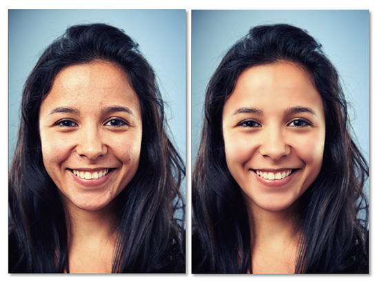 Before and after of the portrait retouch.