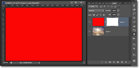 A white layer mask in Photoshop reveals everything on the layer.
